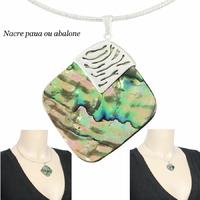 Pendentif nacre paua ou abalone & argent 925, modèle au choix : hauteur totale 3.4cm ou 5cm