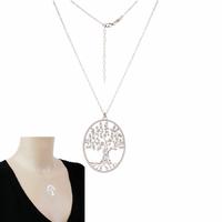 Collier arbre de vie ovale, 2.2x2.8cm en argent 925 option rhôdié, régl. de 40 à 45cm