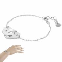 """Bracelet menottes 1.6cm """"extérieur"""" argent 925 option rhôdié, réglable de 16 à 19cm"""