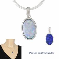 Pendentif Opale bleue & argent 925 rhôdié, haut. 2.2cm