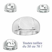 Chevalière carré 11x11mm, argent 925 (11g), Initiales, zodiaque + gravure intérieure, T. 50 au 76 !