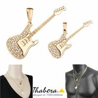 Pendentif guitare électrique plaqué or & oxydes, modèle au choix