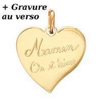 """Pendentif coeur """"Maman on t'aime"""" plaqué or + gravure verso, haut. 2.5cm"""
