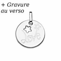 Pendentif Love & étoiles argent 925 rhôdié + gravure verso