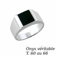 Chevalière pierre onyx & argent 925 rhôdié, T. 60 au 66