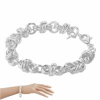 Bracelet anneaux doubles 1cm, argent 925 (19-23g) - 18 ou 22cm …