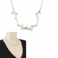 Collier Opale blanche irisée & argent 925, régl. de 42 à 44cm