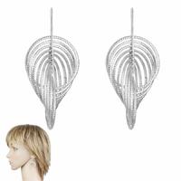 Boucles argent 925 rhôdié, effet diamanté, long. 4.5cm