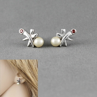 Boucles perles d'eau douce, grenat & argent 925, 1.2x1.7cm