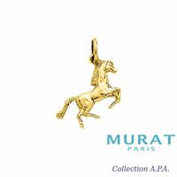 Pendentif cheval qui cabre plaqué or, haut. 2.5cm