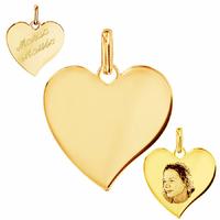 Pendentif Coeur + gravure, portrait, grand modèle 3cm, plaqué or