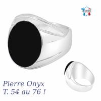 Chevalière Onyx & argent 925 (19g), T. 54 au 76 !
