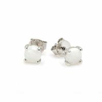 Boucles opale blanche 4mmm & argent 925 rhôdié