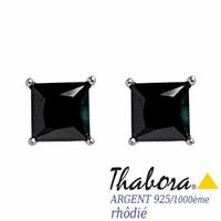 Boucles oxydes noirs & argent 925 rhôdié, 4x4mm