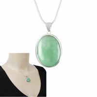 Pendentif Jade vert & argent 925, haut. totale 3,2cm