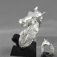 Bague tête & queue du cheval argent 925 (9g), T. 59