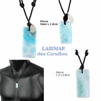 Pendentif Larimar, cordon réglable, choix sur photos contractuelles