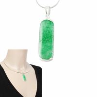 Pendentif Jade vert & argent 925, haut. 4.3cm