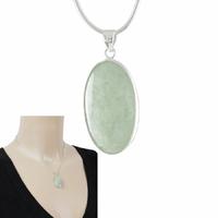Pendentif Jade vert & argent 925, haut. 3.2cm