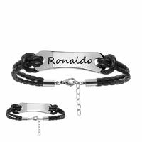 Bracelet acier & cuir double noir + gravure - 19-22cm