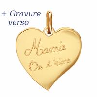 Pendentif coeur Mamie on t'aime + gravure, plaqué or - 2.5cm