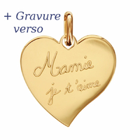 Pendentif Coeur Mamie je t'aime + gravure verso, plaqué or - 2.5cm