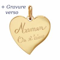 Pendentif coeur Maman on t'aime, plaqué or + gravure verso, haut. 2.5cm
