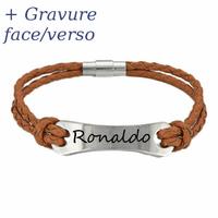 Bracelet acier & cuir double marron + gravure -  20cm