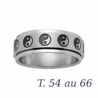 Bague yin & yang acier, anneau tournant T. 54 au 66