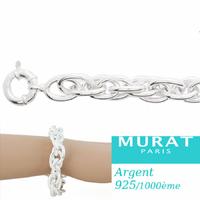 Bracelet mailles trio large argent 925 (35-37g) - 20 et 21cm