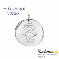Médaille garçon argent 925 rhôdié - 2.3cm + gravure