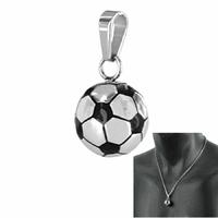 Pendentif ballon de foot acier, 1.5cm, hauteur 2.8cm