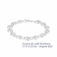 Bracelet grains de café 8x10mm - 17 à 21cm, argent 925 + rhôdié (10-13g)