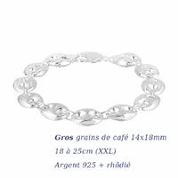 Bracelet grains de café 14x18mm argent 925 + rhôdié (18-26g) - 18 à 25cm !