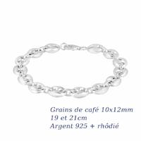 Bracelet grains de café 10x12mm argent 925 + rhôdié (13-16g !) - 19 et 21cm