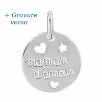 Pendentif maman d'amour, argent 925 rhôdié + gravure verso