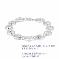 Bracelet grains de café 11x15mm - 19 à 24cm ! argent 925 +rhôdié (20-24g)