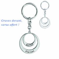 Porte clés 1 à 2 prénoms face + verso, argent 925