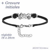 Bracelet moto argent 925 + gravure - 16 à 20cm
