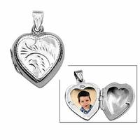Pendentif cassolette coeur, porte-photos argent 925, haut. 2.5cm