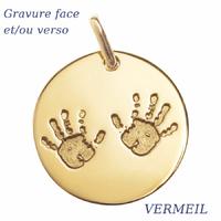 Pendentif petites mains Vermeil + gravure(s), haut. 2.2cm