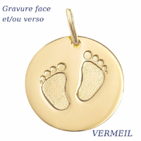 Pendentif petits pieds Vermeil, haut. 2.2cm + gravure(s)