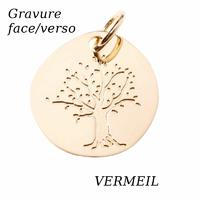Pendentif arbre de vie en Vermeil + gravure, haut. 2.8cm
