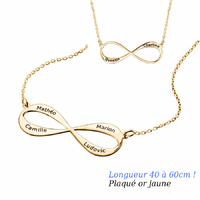 Collier Infini 1 à 4 prénoms face+verso, plaqué or jaune, long. 40 à 60cm !