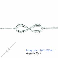 Bracelet Infini 1 à 4 prénoms face+verso, argent 925 - 16 à 22cm !
