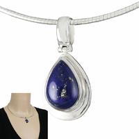 Pendentif Lapis lazuli, pyrite & argent 925, haut. 3cm, photo contractuelle