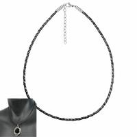 Cordon cuir tressé noir 3mm & acier - 45 à 50cm