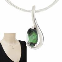 Pendentif tourmaline verte & argent 925, haut. 1.7cm
