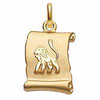 Pendentif Lion + gravure, zodiaque parchemin plaqué or