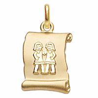 Pendentif Gémeaux + gravure, zodiaque parchemin en plaqué or